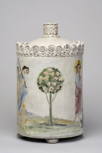 Scene from the Resurrection of Lazarus painted on the side of a ceramic lidded vessel, with a tree in the centre