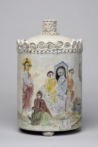 Scene from the Resurrection of Lazarus painted on the side of a ceramic lidded vessel