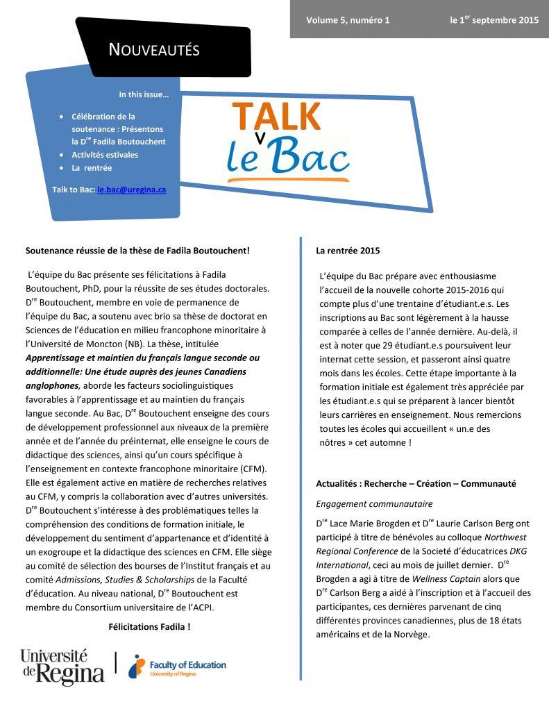 Talk Bac v5 n1 1er septembre 2015