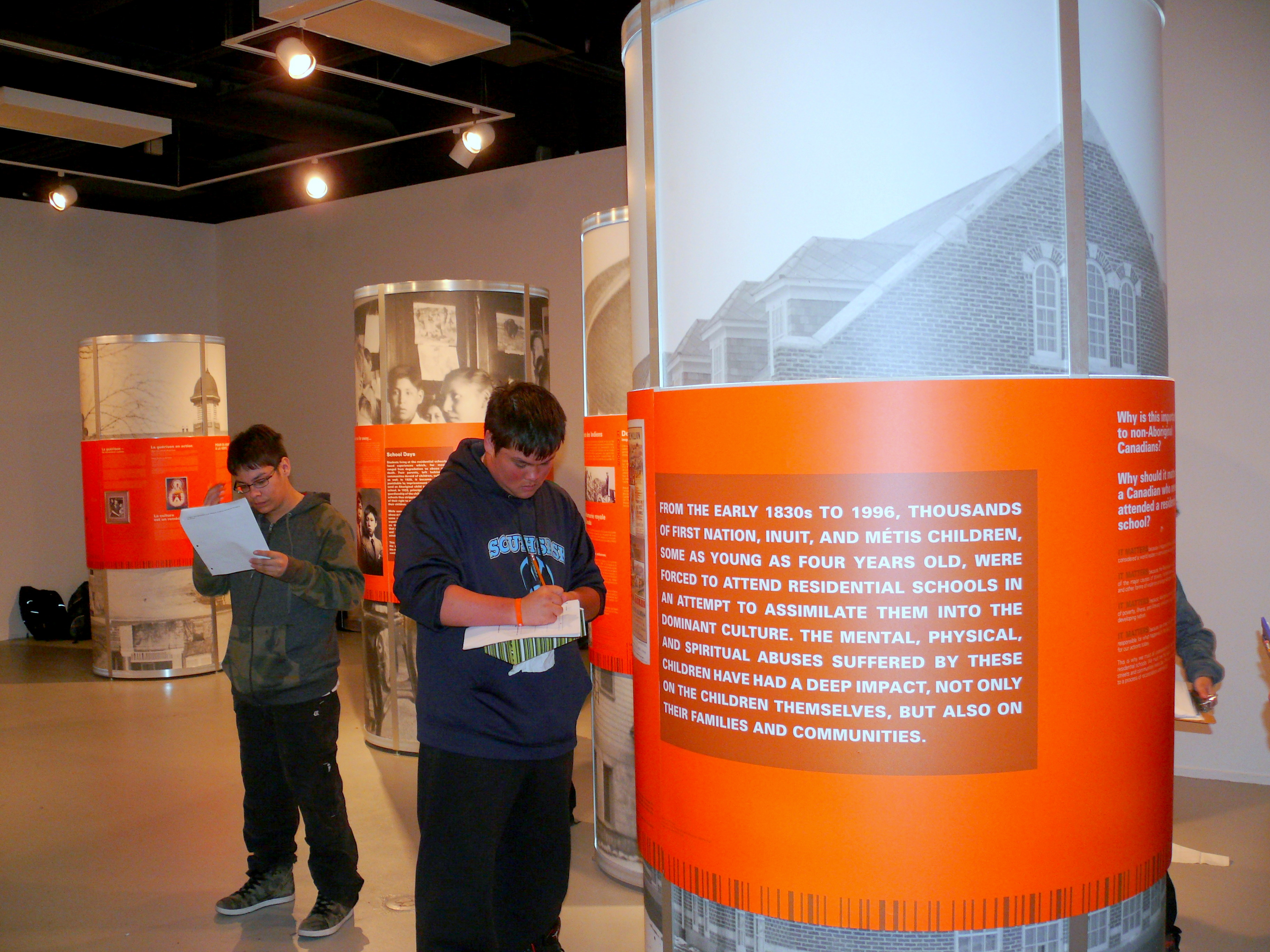 project of heart education news regina school students the 100 years of loss exhibit to learn about the history of residential schools in photo credit shuana niessen