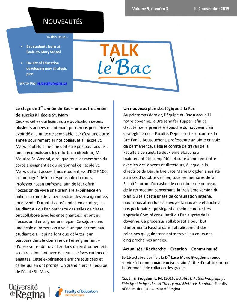 Talk Bac v5 n3 - 2 novembre 2015