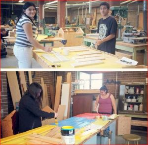 Students constructing the benches and garden boxes for the Angels Corner project