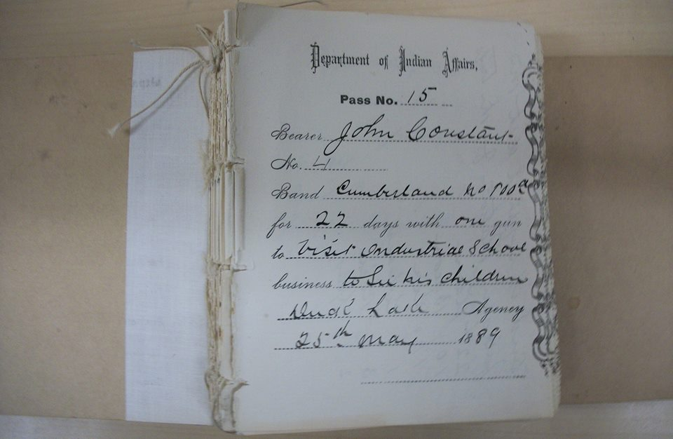 "An 1889 Pass Permit for a parent to visit his children at Duck Lake Residential School. ""The illegal pass system whereby adults could not leave reserves without permission, assisted in keeping parents ignorant of affairs in the schools."" (Needs and Expectations for Redress of Victims of Abuse , Sage, p. 40) Photo: Saskatchewan Archives Board"