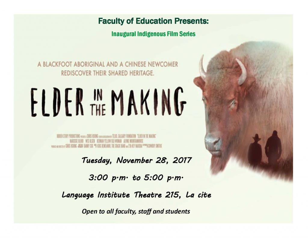 Inaugural Indigenous Film Series presents Elder in the Making