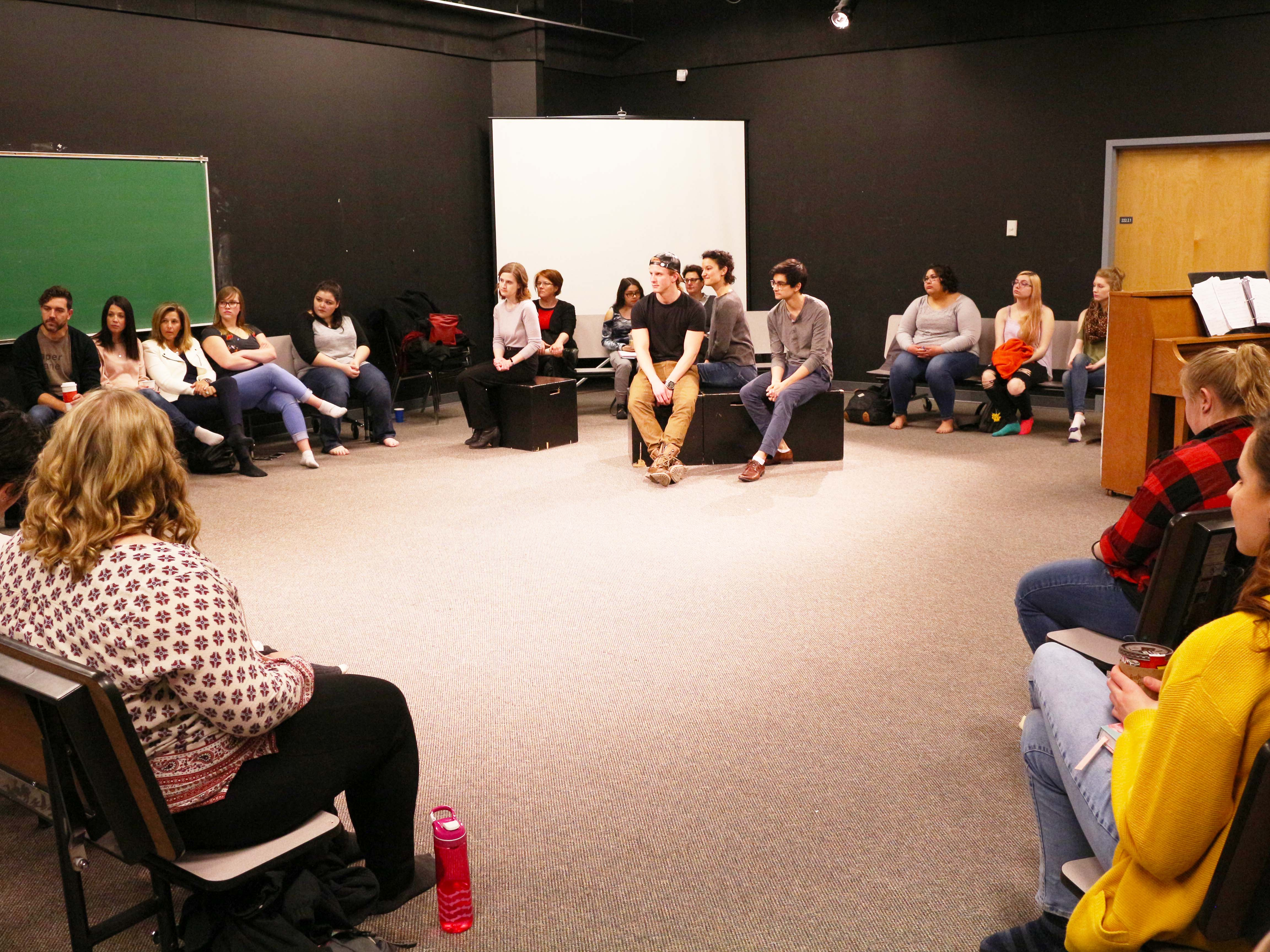Globe Theatre artists and playwright perform and discuss Us for Arts Ed students