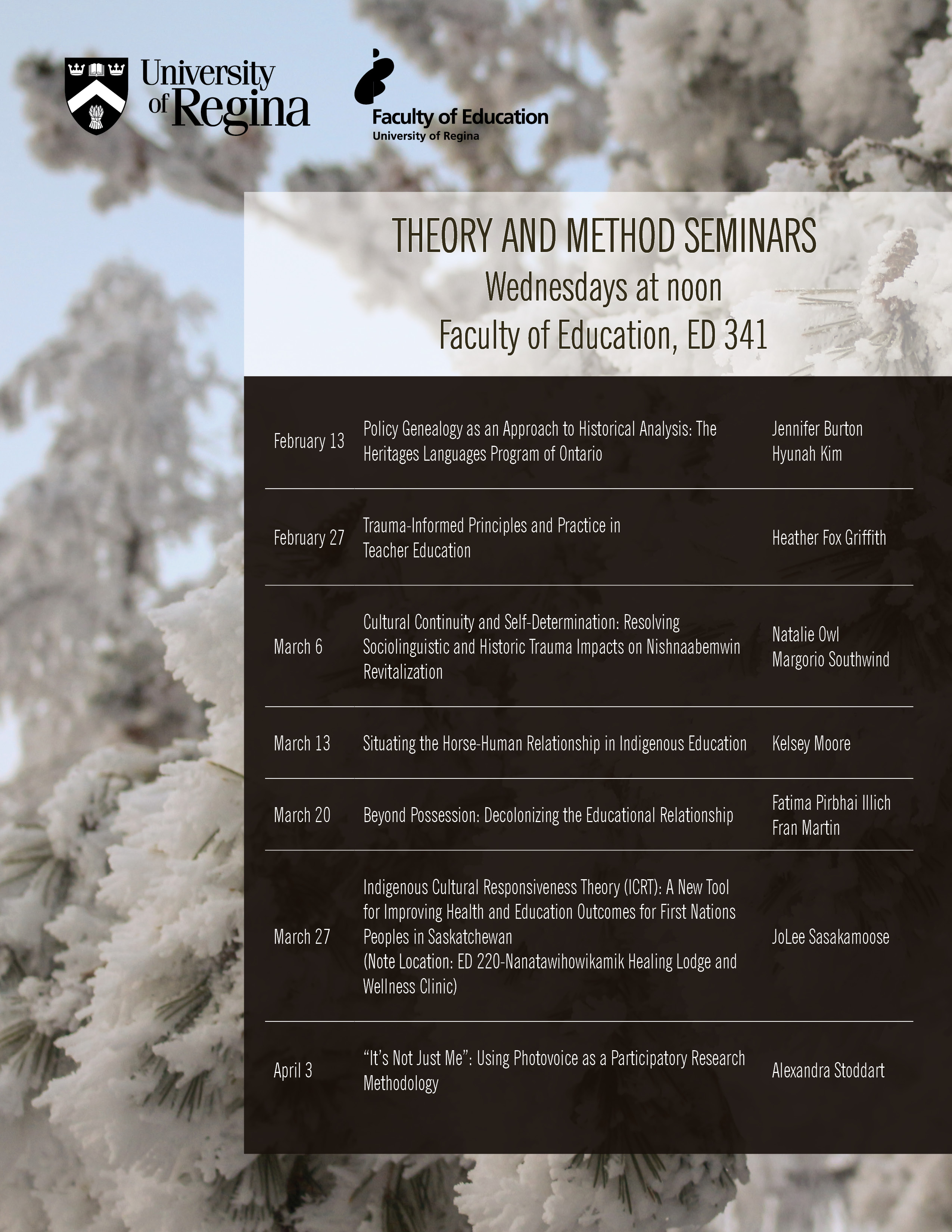 Winter schedule for the Theory and Method Seminar