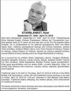 Bereavement Notice | Life Speaker Noel Starblanket